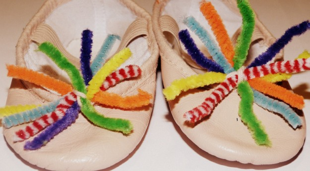 Creative Decorated Children's Ballet Shoes - pipecleaner flower decorations