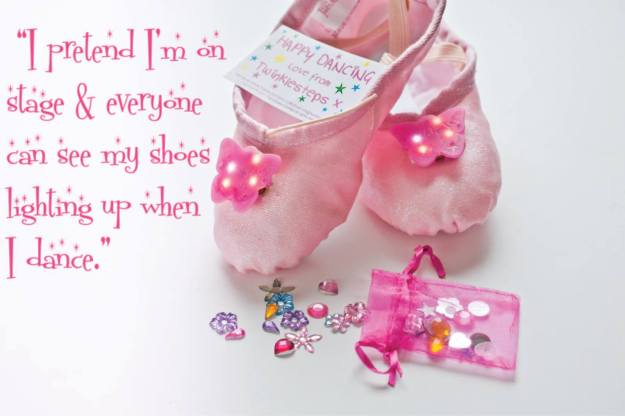 Light up ballet shoes with quote